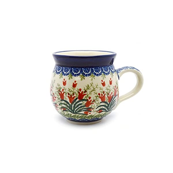 Polish Pottery Mug – 15 Oz. Bubble – Crimson Bells