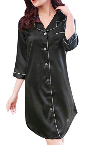 (Wofupowga Women's Button Front Homewear 3/4 Sleeve Silk Satin Nightgown 1 XL)