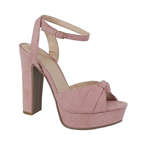 Yoki Open Toe Bow Knot Platform High Heels Ankle Straped Plaid Naiisha-04 Dress Sandals Women's Shoes (9, Blush) - Blush Women Platform