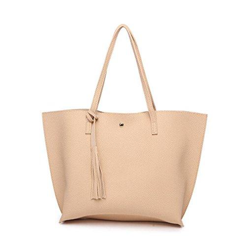 Sumerk Tassel Leather Tote Bag for Women Casual Tote Bags Shoulder Bag Satchel Ladies Purses and Handbags by Sumerk