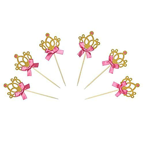 X-gadget 24PCS Gold Glitter Princess Crown Tiara Cake, Cute Cupcake Toppers for Party Wedding Birthday Decorations ()