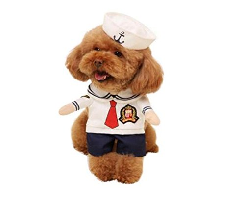 Hotumn Dog Sailor Suit Cat Sailor Costumes Navy Suit with Hat Halloween Christmas Pet Costumes for Puppy and Cat (M)]()