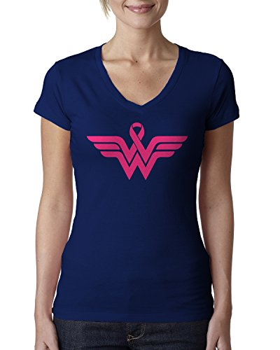 (Breast Cancer Awareness Pink Ribbon Superhero Logo Ladies V-Neck T-Shirt Small Navy)