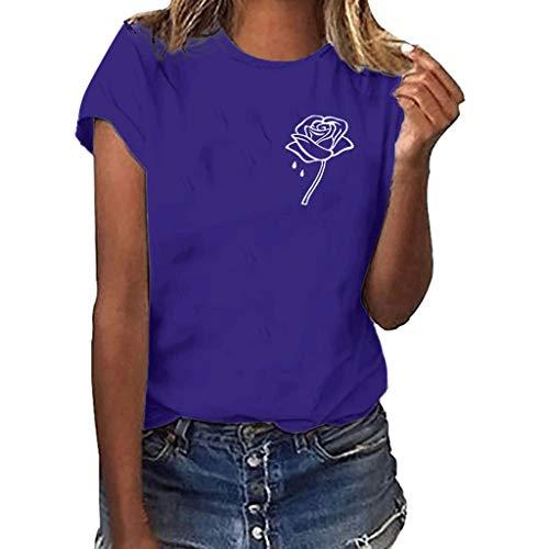 (Women Girls Plus Size Tops Rose Print Shirt Short Sleeve T Shirt O-Neck Blouse)