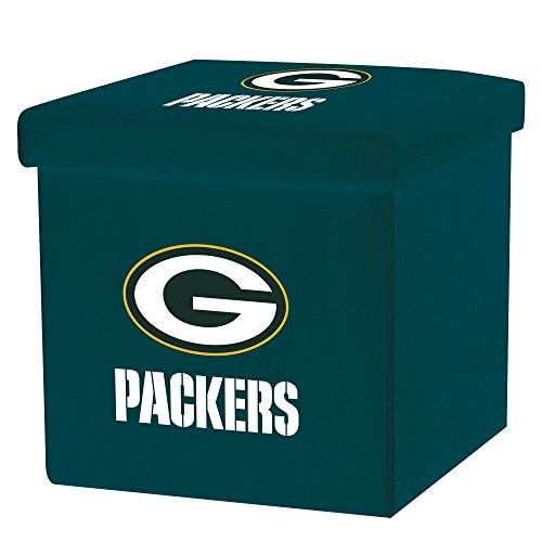 Franklin Sports NFL Green Bay Packers Storage Ottoman with Detachable Lid 14 x 14 x 14 - - Sports Franklin Green