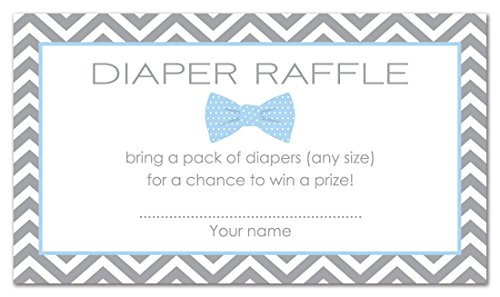 48 Bow Tie Baby Shower Raffle Cards (Blue)