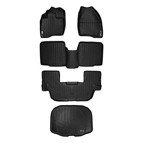 SMARTLINER Floor Mats 3 Rows and Cargo Liner Behind 3rd Row Set Black for 2015-2016 Ford Explorer without 2nd Row Center Console