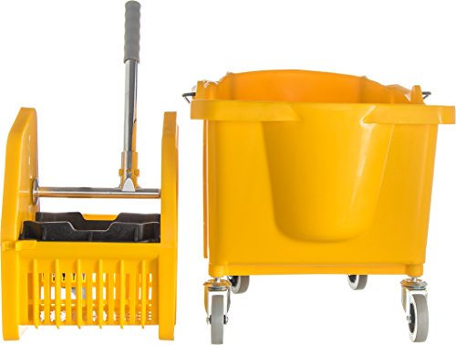 Carlisle 3690504 Commercial Mop Bucket With Down Press Wringer, 35 Quart Capacity, Yellow by Carlisle (Image #1)