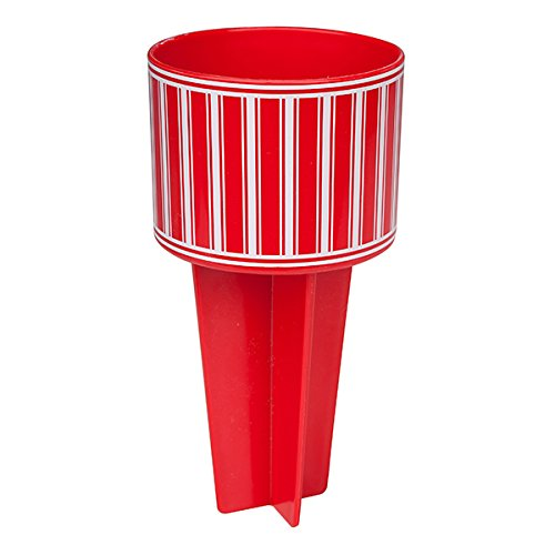 Beach Buddy Cup Holder - Red with White Stripes-Beach Gear Accessories