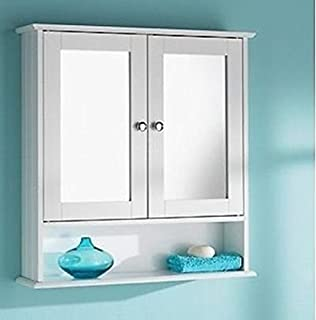 White Wooden Bathroom Mirrored Door Cabinet Wall Mounted Medicine With Shelves