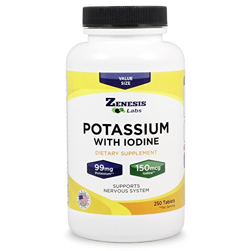 Potassium Gluconate with Iodine Kelp (Order 3, Save 20%) - 250 Tablets - 99mg per Tablet with 150mcg of Iodine - Leg & Muscle Cramp Relief - Blood Pressure ()