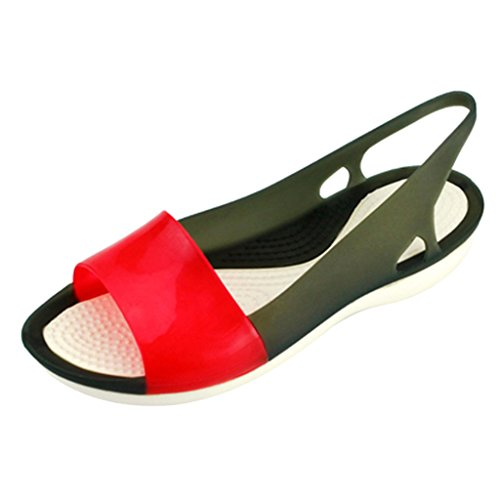 Chers Temps Femmes Peep Toe Wedge Jelly Chaussures Noir Rouge