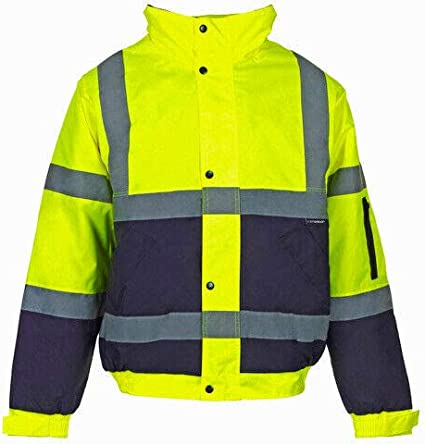 Kuest Hi-Vis Visibility Viz Safety Bomber Jacket Waterproof Work Wear