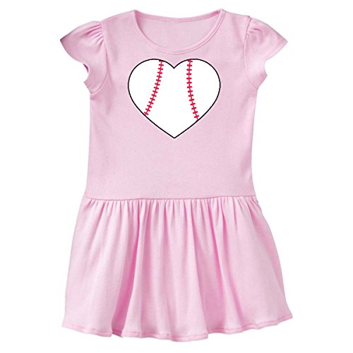 inktastic - Heart Shaped Baseball Toddler Dress 3T Ballerina Pink 2a73c (Ballerina Heart Dress)