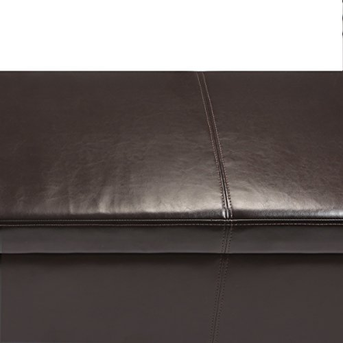 Rectangular Storage Ottoman Bench Faux Leather Storage Bench with Safety Hinged Lid for Closet Room Living Room Bedroom- Large,Espresso Brown