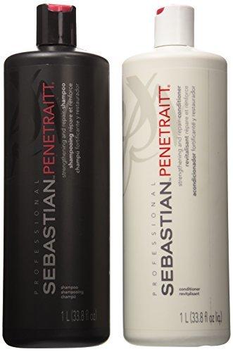 Sebastian Penetraitt Strengthening And Repair Shampoo & Conditioner Liter Set (33.8 OZ) by Sebastian Professional