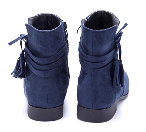 Schuhtempel24 Damen Schuhe Flache Stiefeletten Stiefel Boots Flach Zierschleife 2 cm Blau