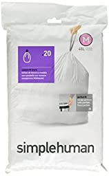 simplehuman Code G Custom Fit Liners, Drawstring Trash Bags, 30 Liter / 8 Gallon, 100-Count Box