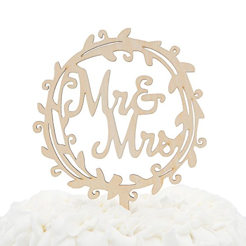 & Mrs Wooden Wedding Cake Topper Small 4.5 Inches Rustic Wood Floral Wreath Flowers, Olive Branch (Mr & Mrs Wreath) (Olive Wood Branch)