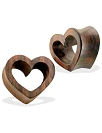Pair Of Organic Sono Wood Heart Tunnel Plugs
