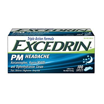 Excedrin PM Caffeine-Free Caplets for Headache Pain Relief and Nighttime Sleep-Aid, 100 count - Pack of 2 by Excedrin E