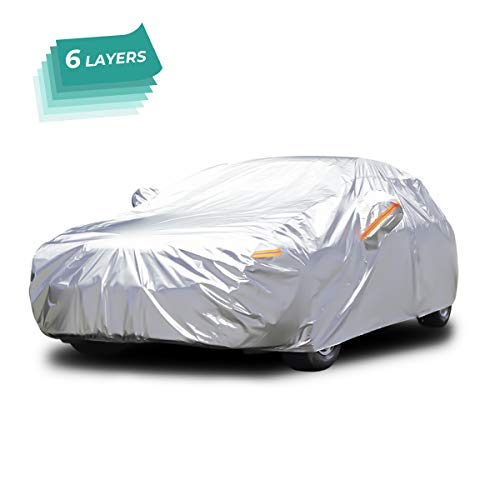 Audew All Weather Car Cover 6 Layer Breathable UV Protection Waterproof Dustproof Universal Fit Full Car Covers for Sedan, SUV L(167''-190'') (Best Car Covers For Outdoor Storage)
