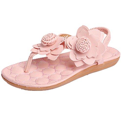 Elevin (tm) Kvinnor Sommarens Mode Blommor / Bandage / Randig Bohemia Peep-toe Platta Flip Flop Sandal Skor Rosa