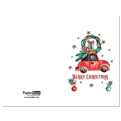 Car Merry Christmas Card - with Custom Handwritten Message - mailed to your recipient