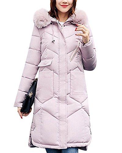 Grande Piumino cappuccio Coat Donna Parka Pink Giacca Colletto con Sezione lunga qxw6UaE