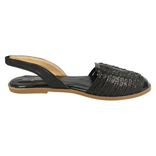 Slingback Savannah Sandal Ladies Vamp Glitter Black Weave HSIn78d