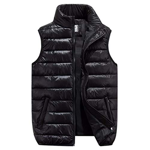 Laisla fashion Men's NEN Winter Thicken Vest Cotton Puffer Vest Sleeveless Stand Collar Clásico Ultralight Down Vest Quilted Jacket Solid Color Boy Schwarz