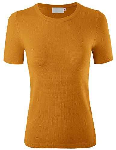 MAYSIX APPAREL Short Sleeve Crew Neck Knit Pullover Sweater for Women Mustard M