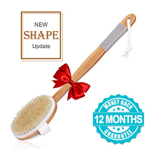 Back Scrubber for Shower Dry Brushing Body Brush with Rubber Anti-Slip Cover Dry Brush with Natural Bristles Back Brush Detachable Long Bamboo Handle Exfoliating Brush Improves Skin Health