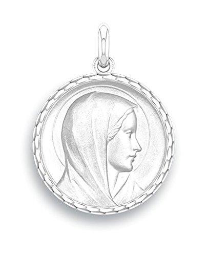 VIERGE ANNONCIATION - Médaille Religieuse - Or Blanc 9 carats - Diamètre: 17 mm - www.diamants-perles.com