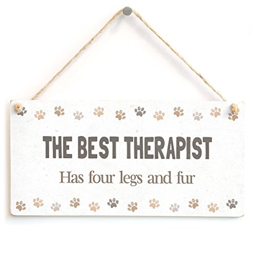 (Meijiafei THE BEST THERAPIST Has four legs and fur - Adorable Pet Cat Dog Owner Home Decor Gift Sign)