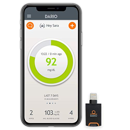 Dario Blood Glucose Meter Starter Kit for iPhone, All-in-One Blood Sugar Monitor, 25 Test Strips, 10 Sterile Lancets, 10 Disposable Covers. Mini, Smart Self-Care Glucose Meter for Monitoring Diabetes