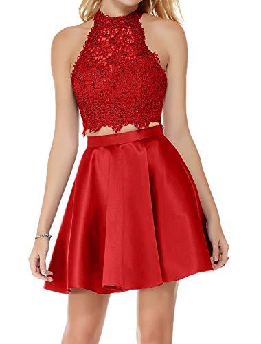 Charmant Zwei Cocktailkleider Attraktive Heimkehr Tanzenkleider Partykleider Abendkleider teilig Spitze Damen Rot q8twgr8