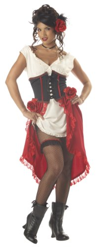 Western Saloon Halloween Costumes (California Costumes Women's Cantina Gal Costume, Ivory/Red/Black,)