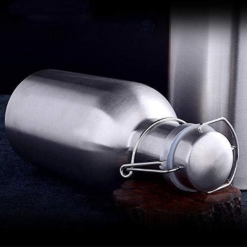 PQZATX 2L Stainless Steel Homebrew Beer Growler Secure Swing Top Lid Big Capacity Beer Bottles For Outdoor