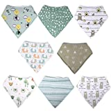 Baby Bandana Drool Bibs for Drooling and Teething - Unisex Bandana Bibs for Boys & Girls, Triple Layer Super Absorbent 100% Organic Cotton, 8-Pack Baby Shower Gift Set