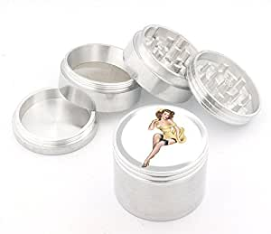 Vintage Pin Up Girl Design Medium Size 4pcs Aluminum Herbal or Tobacco Grinder # G50-92415-18