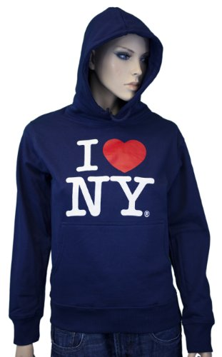 Print Hooded Sweatshirt Screen (I Love NY New York Hoodie Screen Print Heart Sweatshirt Navy Small)