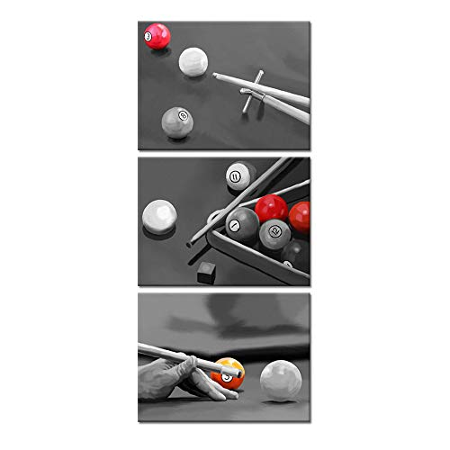 Welmeco Black and White Wall Art Decor Play Pool Table Billiards Pictures Canvas Prints Poster Ready to Hang for Modern Game Bar Room Decoration (16