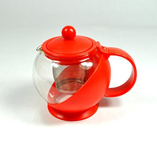 Uniware Tea Pot / Coffee Pot with Removable Stainless Steel Filter (750ml (3 Cups), Red)