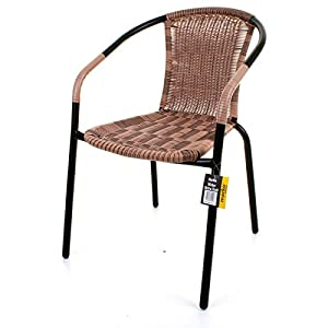 Bistro chair outdoor mocha wicker rattan woven seat black metal frame patio seat - Cane bistro chairs ...