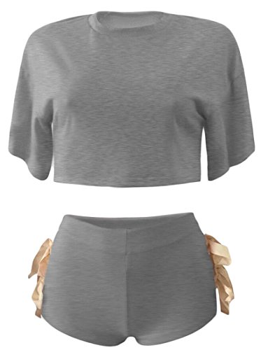 XQS Women Short Sleeve Bandage 2 Piece Set Short Outfit Sportswear Gray XS (80s Outfits For Sale)