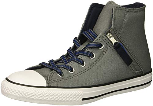 Converse Boys' Chuck Taylor All Star Pull Zip High Top Sneaker Mason/Obsidian/LT Racer Blue 5 M US Big Kid ()