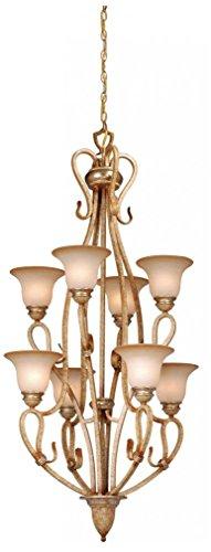 Vaxcel USA BECHU008CA Berkeley 8 Light Transitional Chandelier Lighting Fixture in Brass, Glass