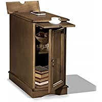 Premium 3550 Chairside USB End Table with Power Outlet Charging Ports and Tray in Grayish Brown