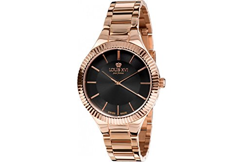 - Louis XVI Women's-Watch La Reine l'or Rose Noir Swiss Made Analog Quartz Stainless Steel Rose Gold 530